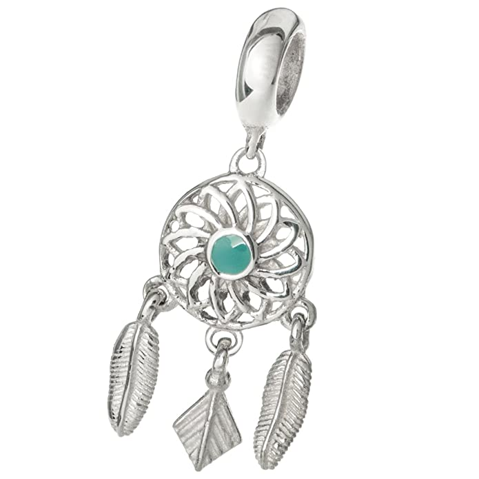 Sterling Silver Enamel Dream Catcher Flower Feather European Style Dangle Bead Charm OfI9P5