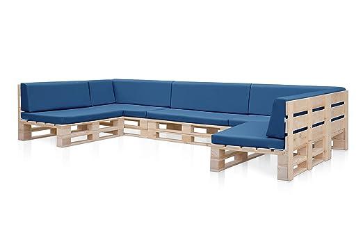 5 Sofas PALETS Madera para Jardin sin Barniz, Sillón Palet + colchonetas de Jardin, Cojines para pales en polipiel color Azul. Palets Europeos con ...