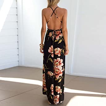 Womens Dresses Clearance Sexy Backless Cross Up Floral Print Loose Casual Maxi Chiffon Long Dress at Amazon Womens Clothing store: