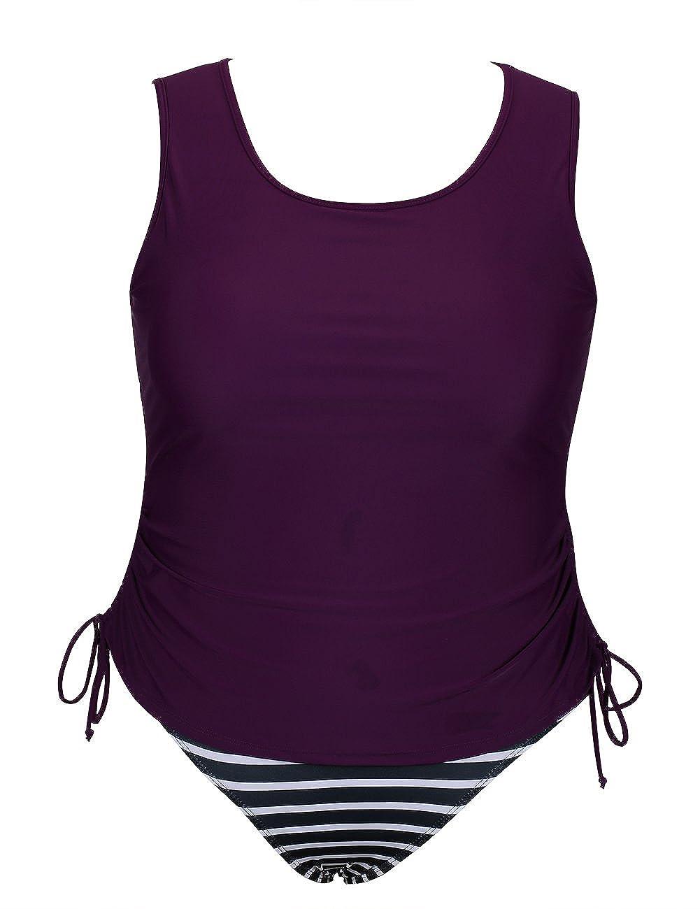 BANDEA Plus Size Tankini Swimsuit, Tummy Control Two Piece Bathing Suit for Women