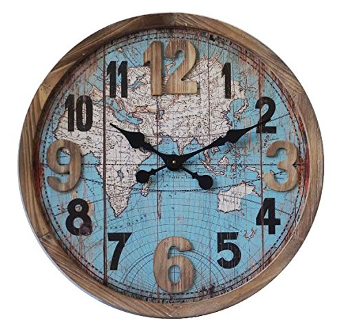 Concepts Atlas Big Clock The World on Your Wall with Wooden Features