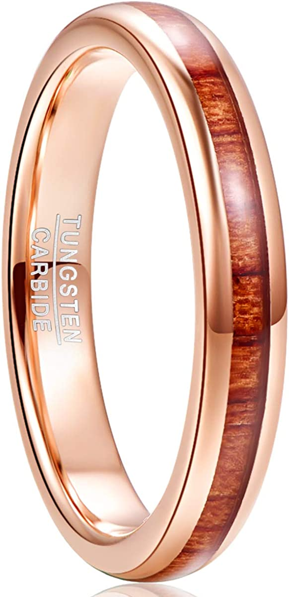 NUNCAD 4mm Rose Gold Tungsten Carbide Ring Hawaiian Koa Wood Inlay Polished Finish Comfort Fit Size 6-12