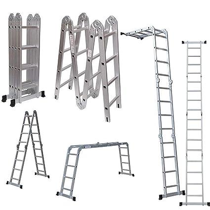 Amazon Com 4 7m 15 5ft Multi Purpose Folding Aluminium Ladder 16