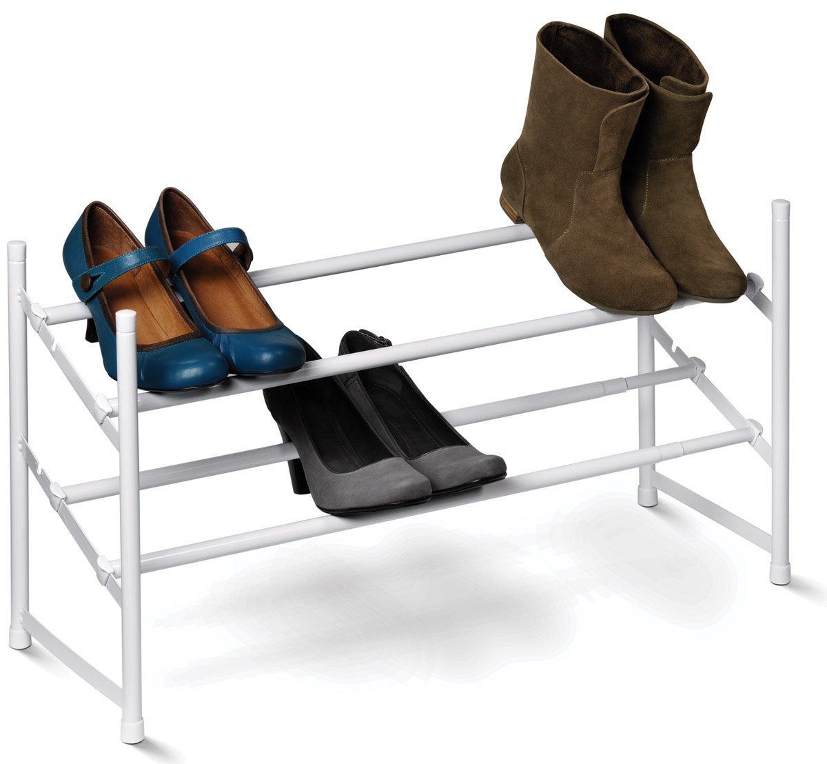 Honey-Can-Do SHO-01167 2-Tier Expandable Shoe Rack, White