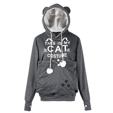 Riou Damen Kapuzenpullover Hoodie Pullover,Frauen Elegante Blusen Oberteil  Sweatshirt Langarmshirt Outerwear Frauen Cat Brief 8ff482df41