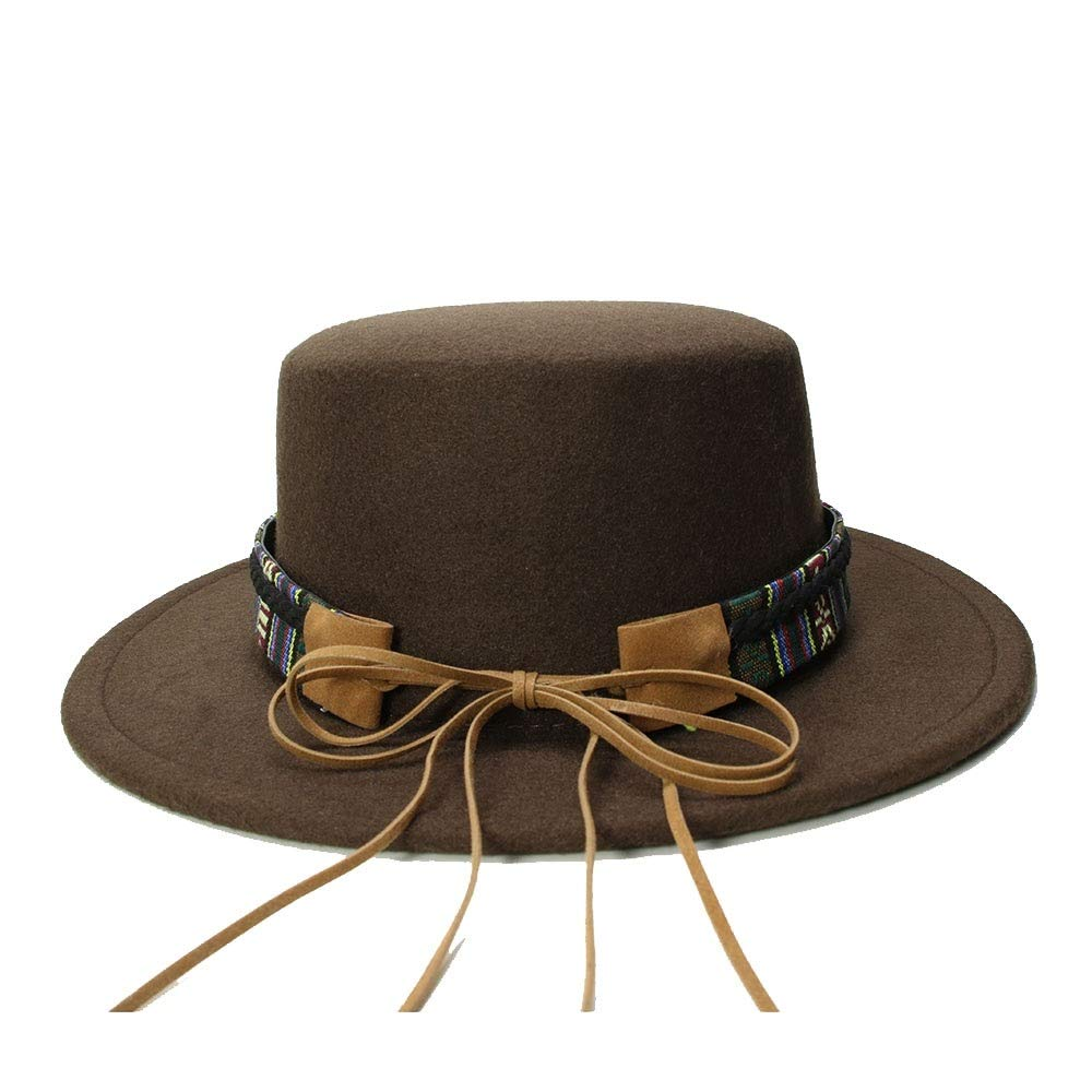 XiuZP Retro Vintage 100/% Wool Wide Brim Cap Pork Pie Porkpie Bowler Hat Cow Head Leather Band For Women Men