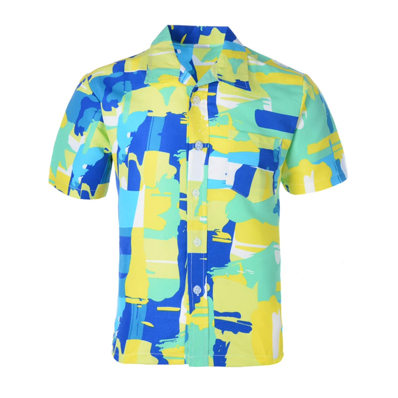 Casual Short Sleeve Shirts Men Summer Hawaiian Shirt Male Camisa Masculina Print Beach Shirts Fashion Top Yellow Floral Print-L