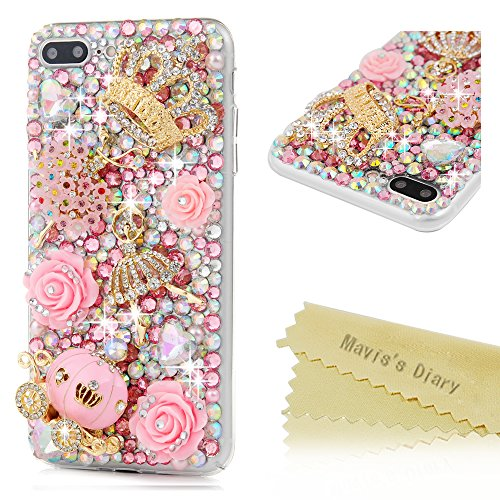 iPhone 7 Plus Case 5.5 inch - Mavis's Diary 3D Handmade Bling Rhinestone Diamonds Luxury Pumpkin Carriage Golden Crown Pink Flower Dancing Girl Shiny Heart [Full Edge Protection] Hard PC Cover (Rhinestones Pumpkin)