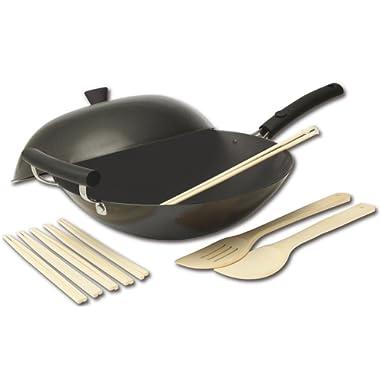 Joyce Chen 21-9980, Classic Series Carbon-Steel Nonstick Wok Set, 12-Piece