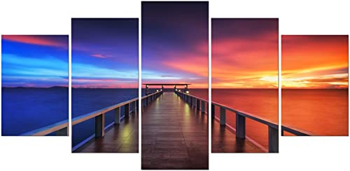 Pyradecor Sunset Bridge Extra Large 5 Piece Modern Seascape Artwork Giclee Canvas Prints Stretched and Framed Landscape Sea Beach Pictures Paintings on Canvas Wall Art