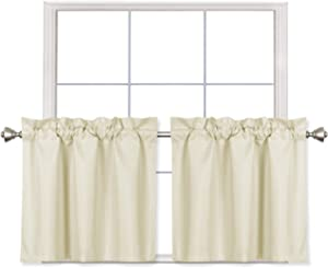 Home Queen Blackout Rod Pocket Tier Curtains for Small Window, Short Room Darkening Kitchen Curtains, Cafe Drapes, 2 Panels, 30 W X 24 L Inch Each, Beige