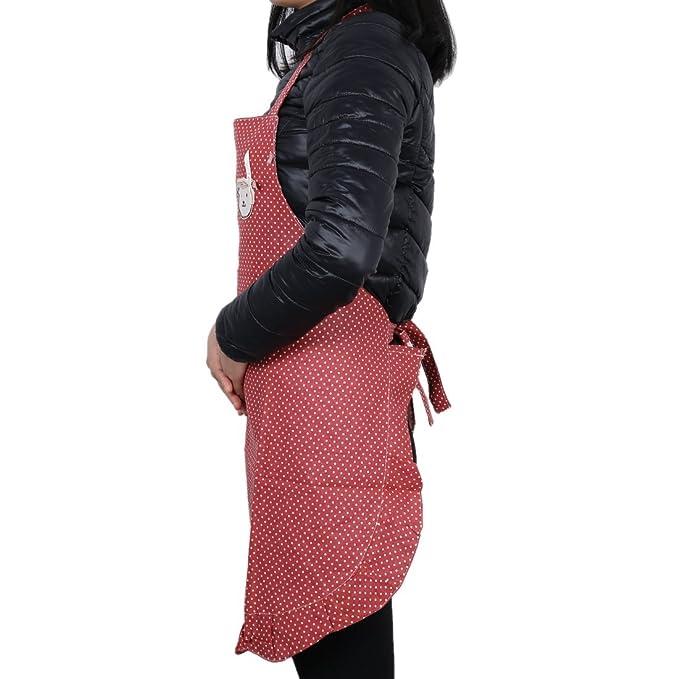 Amazon.com: eDealMax polca del estilo de señora cocineros Carnicerías arte de la cocina babero rojo: Kitchen & Dining