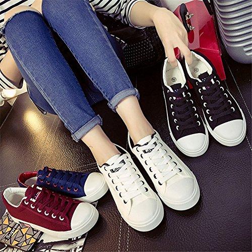 Cheji Damesmode Sneakers Casual Canvas Schoenen 4 Kleuren Wit