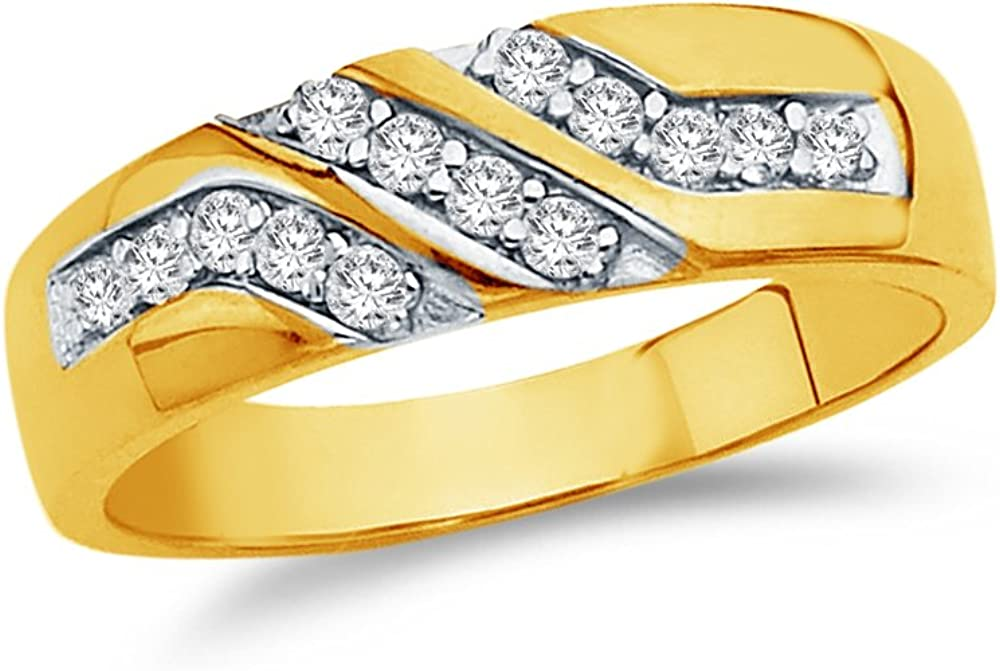 Jewel Tie Solid 14k Yellow Gold Cubic Zirconia CZ Mens Wedding Ring Band 12.5 Size