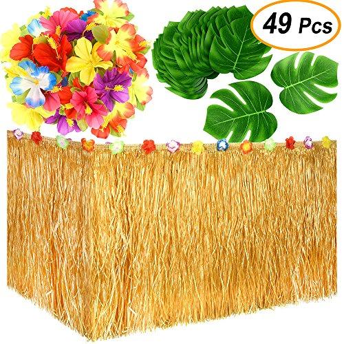 Flowers Aloha Tropical (KUUQA Luau Hawaiian Grass Table Skirt and 48 Pcs Artificial Tropical Palm Monstera Leaves Hibiscus Flowers for Aloha Tiki Jungle Moana Theme Tropical Birthday Party Decorations Ideas Supplies)