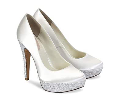 80ccbccd9998 Pink Paradox London Bedazzle Ivory Wedding Shoes Size 8  Amazon.co ...