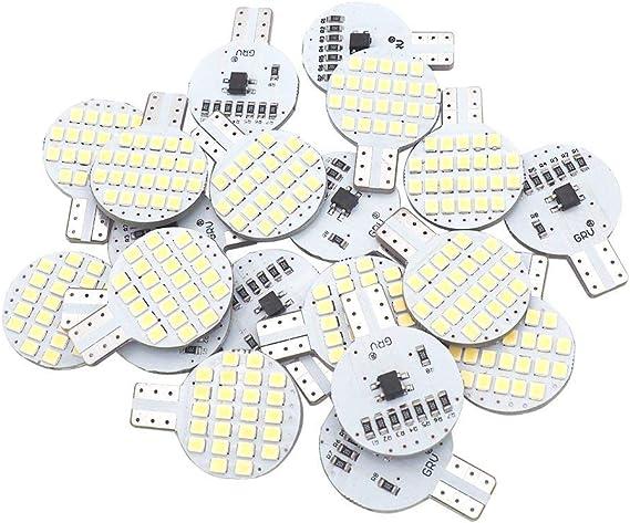 20x Grv T10 LED Light Bulb 921 194 192 C921 24-2835 SMD Super Bright Lamp DC 12V 2 Watt For Car RV Boat Ceiling Dome Interior Lights Cool White (2nd Generation)