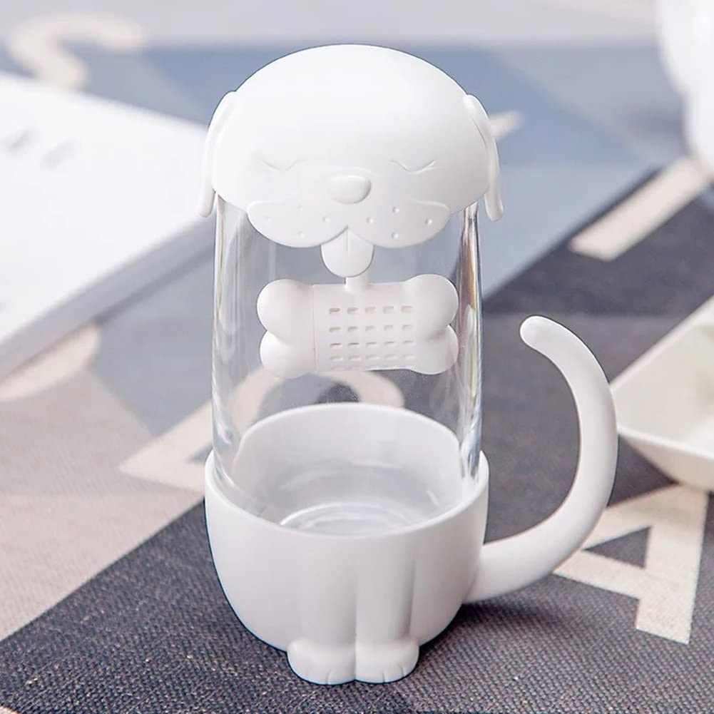 Mcgreen 7 x 15.4cm White Tea Infuser Cup with Lid Cute Cat Strainer Travel Coffee Mug