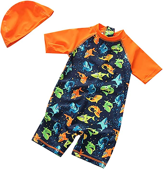 Baby Boys One Piece Cartoon Rash Guard Swimwear Set Toddlers UV Protective Swimsuit with Bathing Cap