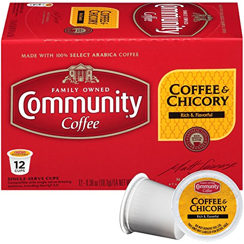 Community Coffee and Chicory Medium Dark Roast Single Serve 36 Ct Box, Compatible with Keurig 2.0 K Cup Brewers,  Full Body Rich Flavorful Taste, 100% Arabica Beans by Community Coffee