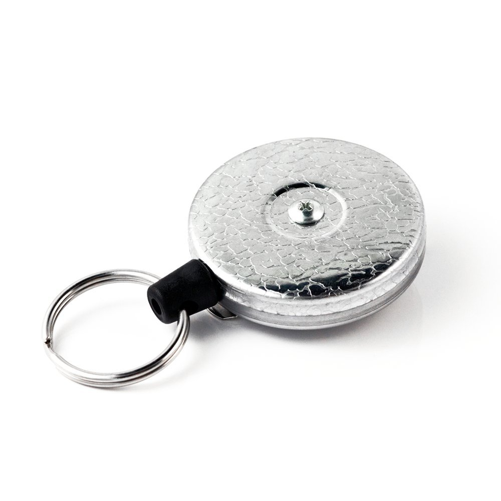 KEY-BAK Original XD Retractable Key Holder, 28'' Kevlar Cord, Chrome Front, Steel Belt Clip, 20 oz. Retraction, Split Ring