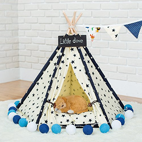 L Miyare Removable and Washable Star Pet Tent Teepee Pet Play House Dogs Cats Play Kennels Cat  Dog Bed (Not Including Mats)(L, Star)