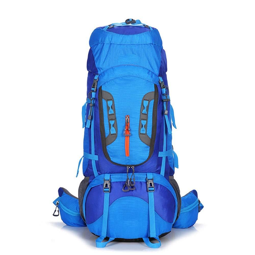75lハイキングバックパック防水軽量屋外キャンプ大容量通気性多機能スポーツバッグ (色 : 青) B07RR8F2V8 青