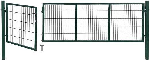 Tidyard Acero Verja Mallada Puerta Barrera Exterior Cercas para Jardín Puerta de Valla de jardín con Postes Acero Verde 350x100 cm: Amazon.es: Jardín