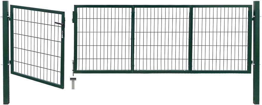 Cancela de valla con postes 350 x 100 cm de acero verde Valla Jardín Nice Puerta Puerta Jardín Garaje Exterior: Amazon.es: Bricolaje y herramientas