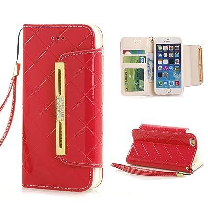 Amazon Com Iphone 6s Wallet Case Longrise Grid Deluxe Pu Leather