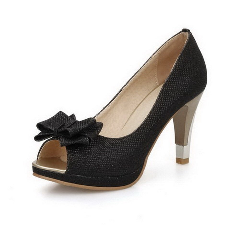 VogueZone009 Women's Open Toe Pull On PU Solid High Heels Sandals, Black, 39 by VogueZone009