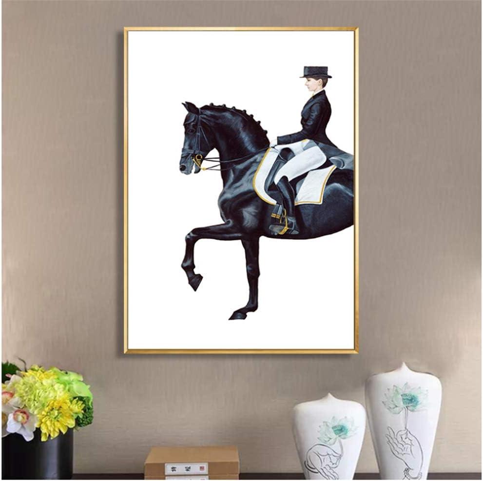 Cuadro moderno de lujo con diseño de caballo, cuadro abstracto, para decoración de salón, hogar, pasillo, 50 x 70 cm, sin marco