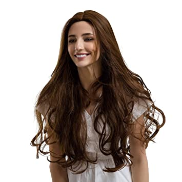 Amazon Com Hot Sale Fashion Linen Yellow Middle Parting Long Curly
