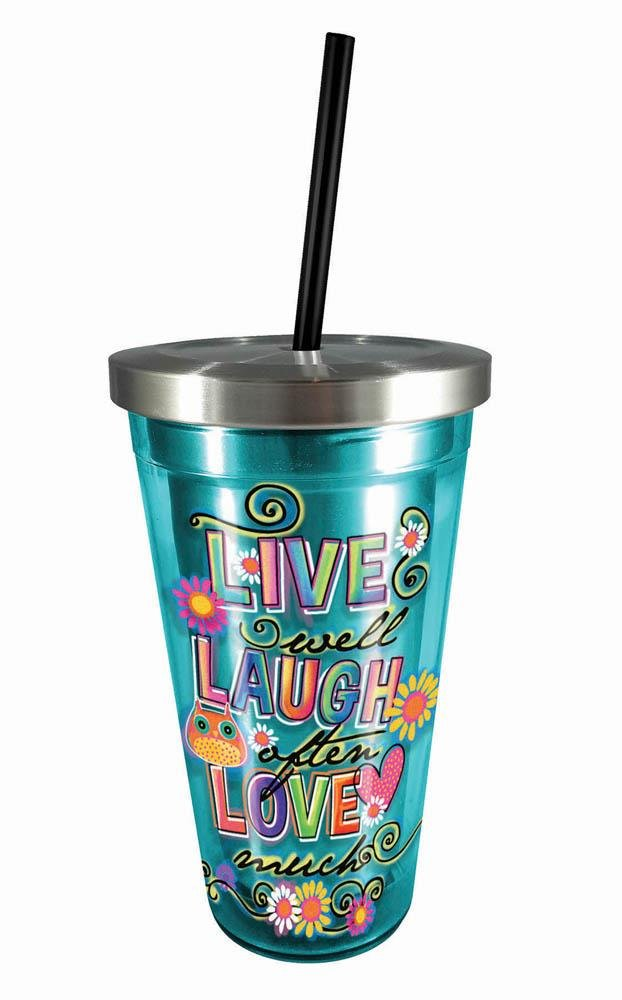 Spoontiques 12010733 Live Laugh Love Stainless Cup w//Straw 16 ounces Multicolor