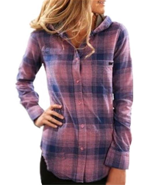 AILIENT Clasicos Mujer Hoodie Camisas a Cuadros Top Blusa Moda de Manga Larga Casual Camisetas Ocasionales: Amazon.es: Ropa y accesorios