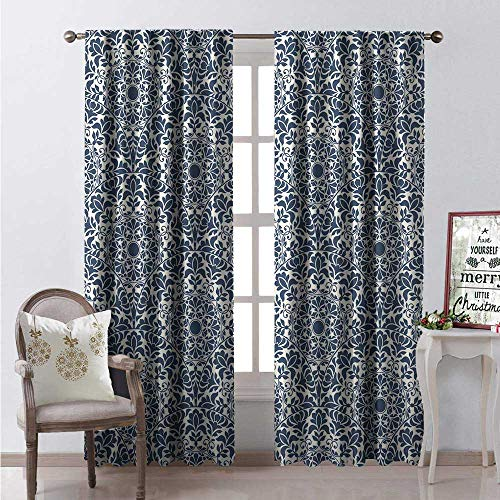 Hengshu Traditional Window Curtain Drape Oriental Circles Leaf Silhouettes Patterns from Eastern Civilizations Customized Curtains W108 x L84 Beige Blue Grey