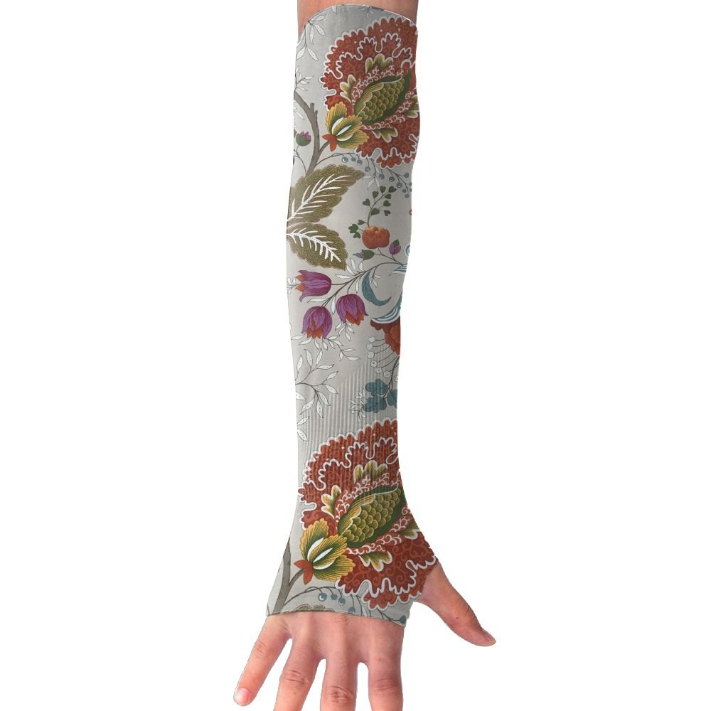 Suining Unisex Ethnic Style Peony Floral Sunscreen Outdoor Travel Arm Warmer Long Sleeves Glove