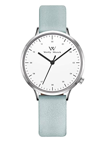 Welly Merck Swiss Movement Womens Dress Watch 30MM Swiss Quartz Movement with 14mm Interchangeable Leather Band,5ATM Waterproof (Blue1) best minimalist watches for women