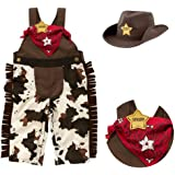 StylesILove Infant Toddler Baby Boy Sheriff Cowboy Overalls, Hat and Handkerchief 3-pc