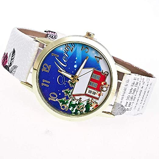 Amazon.com: Windoson Women Christmas Tree and Home Pattern New Analog Ladies Wrist Watches Girl Watches Leather Female Watches (White): Electronics