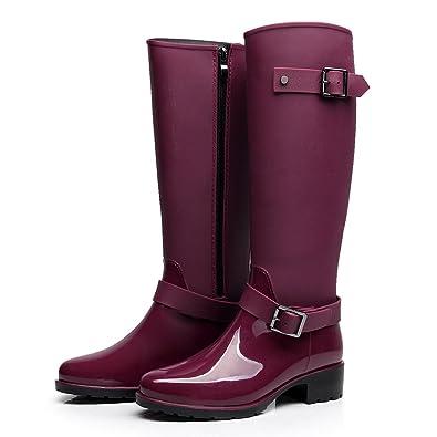 7956dff1b32 Omgard Women Rubber Rain Boots Mid Calf Waterproof Wellies Rainboots High  Knee Shoes Purple