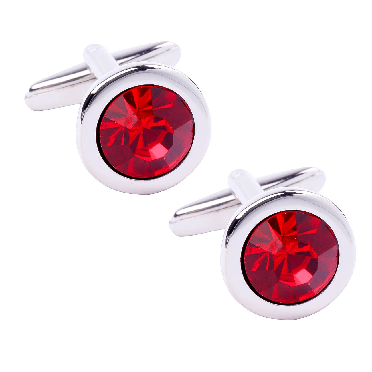 high end exquisite simple diamond cut surface red crystal cufflinks for men business daily use Daptsy BLK.XK.05.RED.YQQ