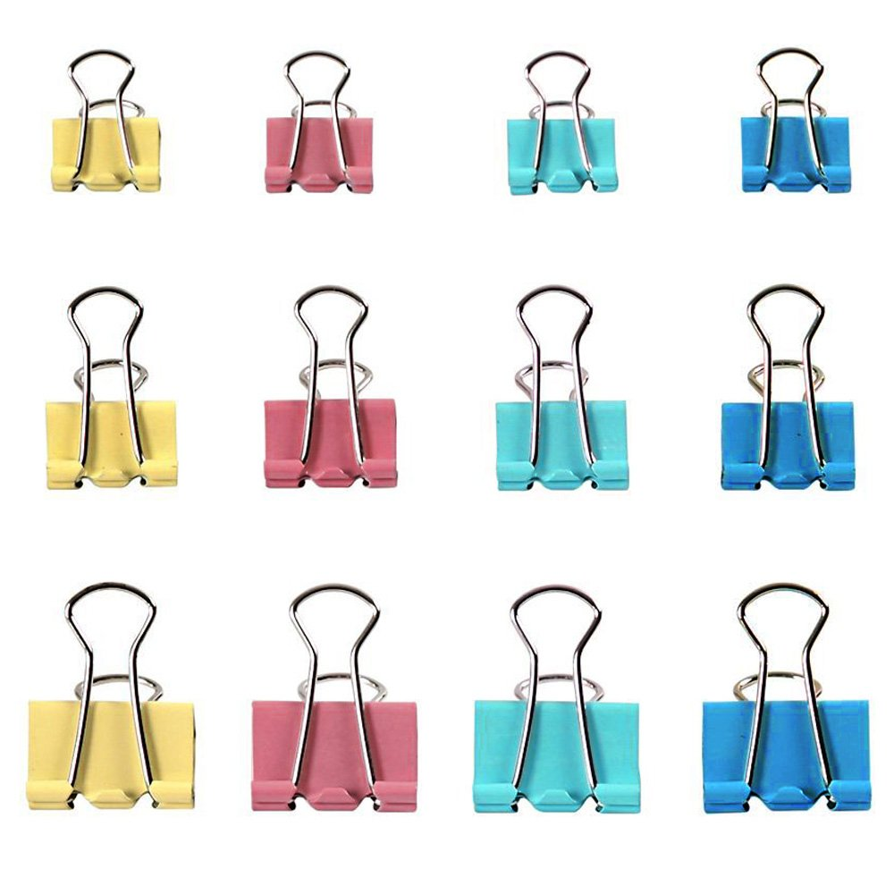 Zacro 19/25/32mm Metal Foldback Klemmer/Foldback Paper Binder Clips - Pack of 60, Sortiert, Colored for Closing Plastic Bags, Office Organize, Securing Documents