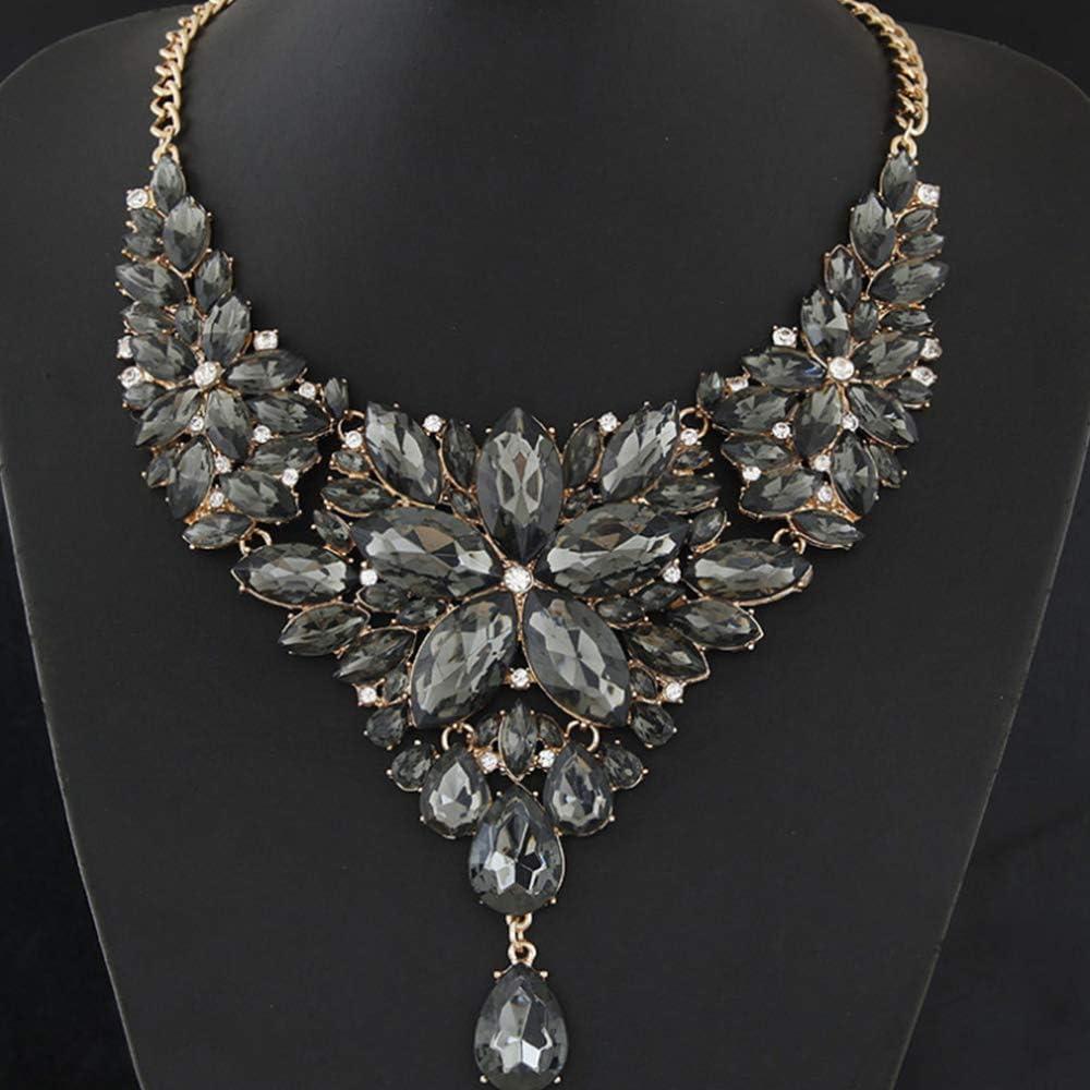 WAN Collar de Piedras Preciosas para Mujeres, Collar Babero, Collar de Temperamento metálico, Esmalte, Lujo, Brillo, Moda, Collar de Personalidad,Gray
