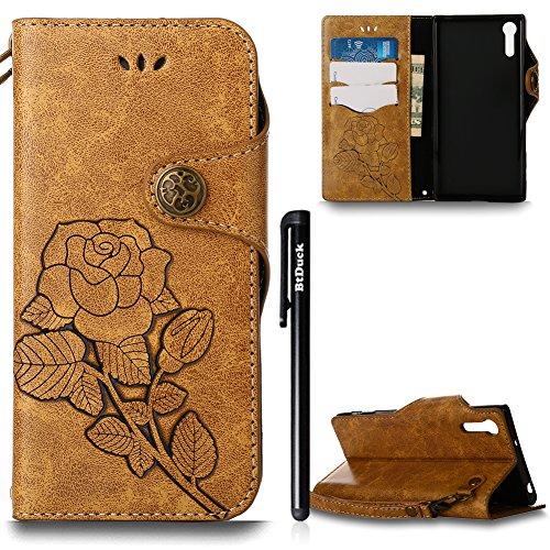 Hülle für Sony Xperia XZ,Hülle für Sony Xperia XZ Retro Blume Frauen,BtDuck Ultra Slim Tasche Vintage Brieftasche Handyhülle Ledertasche Flip Cover Schutzhülle für Sony Xperia XZ Cover mit Magnetversc Sony Xperia XZ-Braun