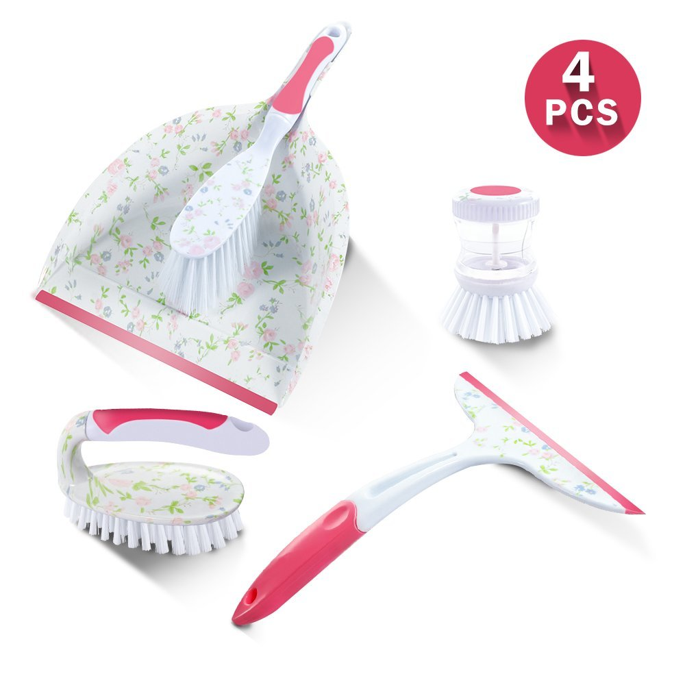 Masthome Printed Cleaning Dustpan Set With Dish Brush &Scrubber Brush 4-piece Cleaning Set