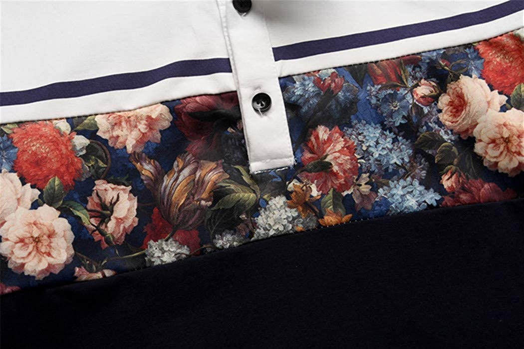 Sam Look Mens Print Long Sleeve Slim Fit Shirts Stand Collar Shirts