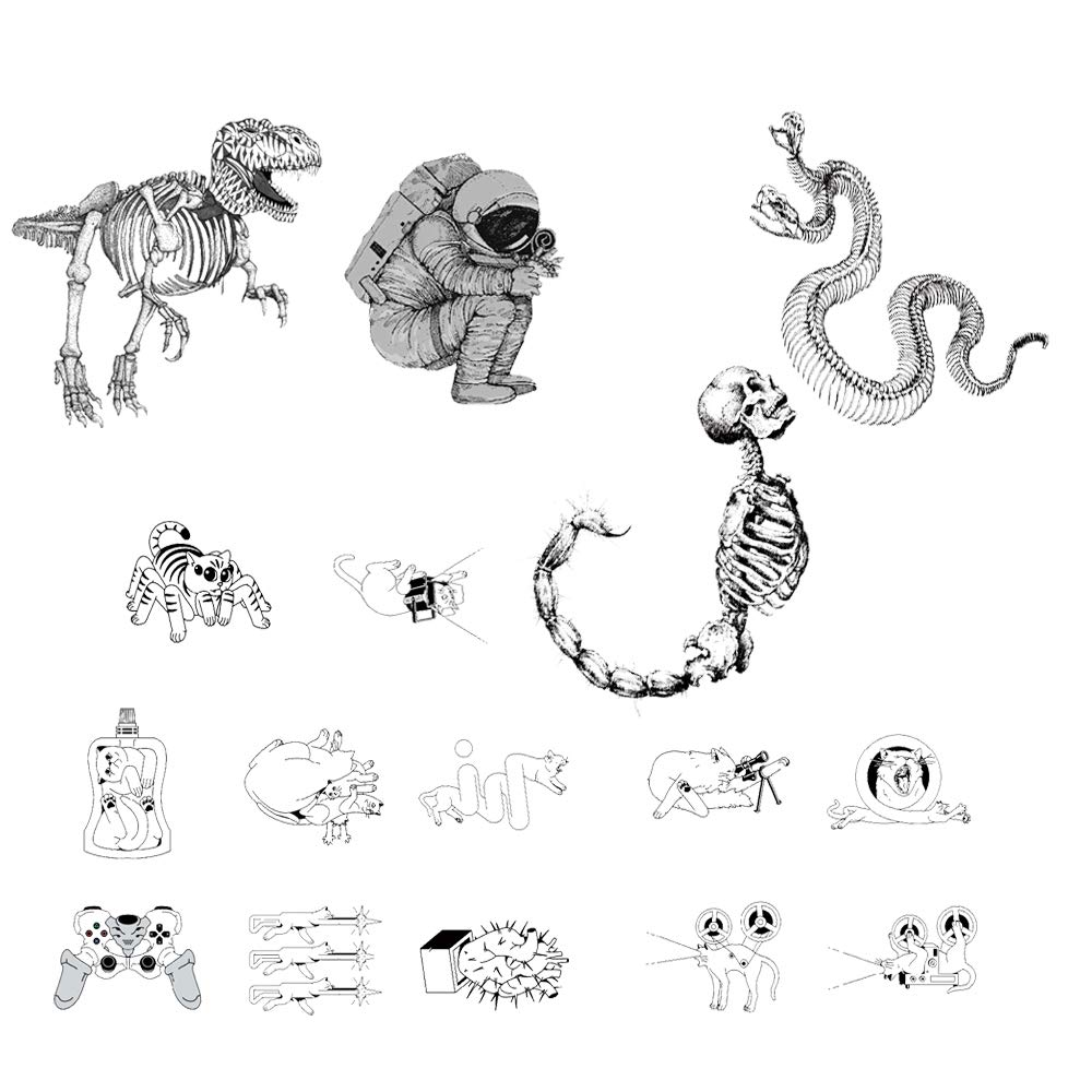 16 Creative Design Temporary Tattoos by Inktells 2020 new,Waterproof fake tattoos for Women Men Adult Kids Boys Girls,Neck Back Arm Hand Stickers about Amimal Game Astronaut Snake Dinosaur(4 sheets)