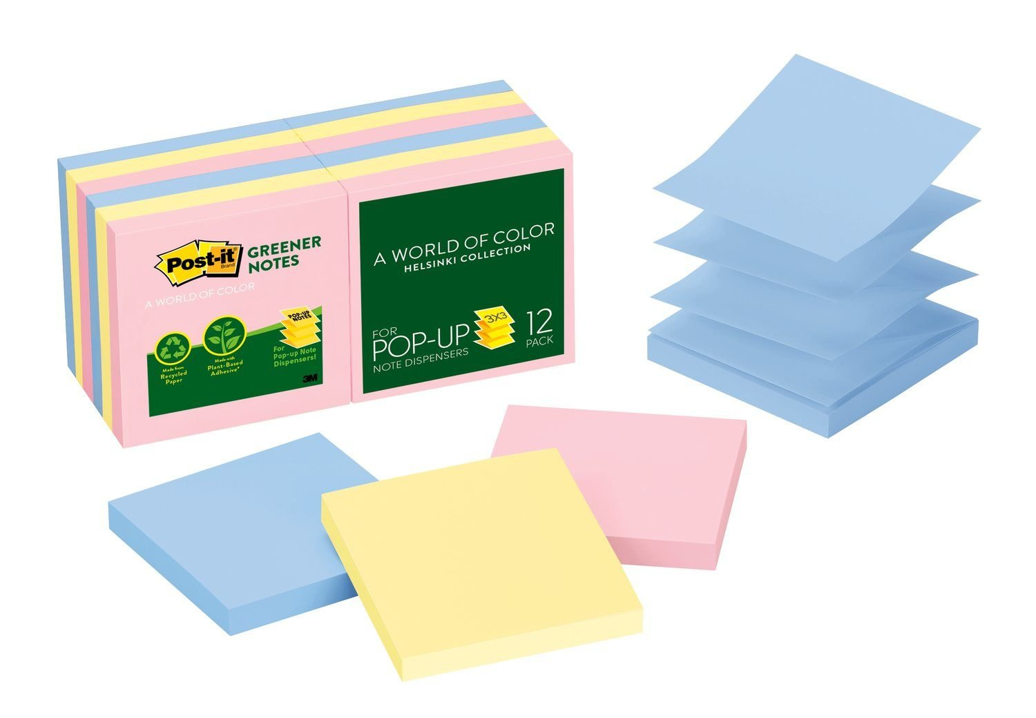 Post-it Greener Pop-up Notes, 3 in x 3 in, Helsinki Collection, 100 Sheets/Pad, 12 Pads/Pack (R330RP-12AP) by Post-it
