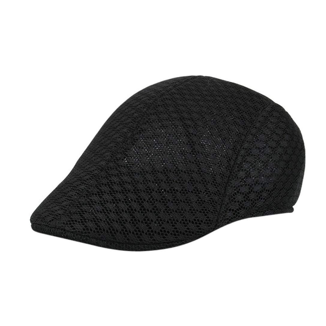 d51435498a95a UJUNAOR Men Breathable Mesh Newsboy Hats Casual Beret Caps(Black )   Amazon.co.uk  Clothing